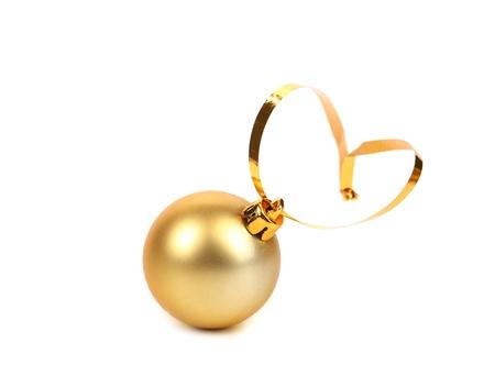 dull: golden dull christmas ball on a white background