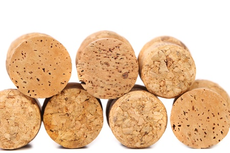 Close up of a champagne corks. White background. photo