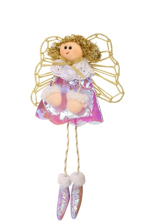 Christmas vintage doll an Flying angel made of a fabric, isolated on white background photo