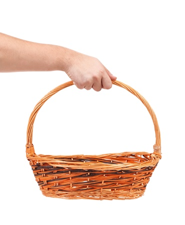 vintage weave wicker basket isolated on a white background Stock Photo - 21593272