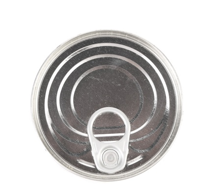 conserve: Metal tin conserve can, top view. White background.