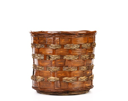 vintage weave wicker basket isolated on a white background Stock Photo - 21593330