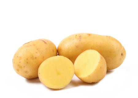 Fresh potatoes isolated on a white background photo