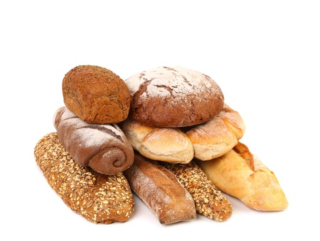 Composition various kinds of bread. White background. photo