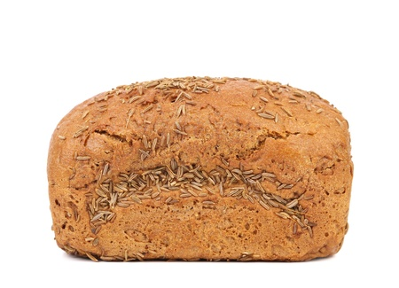 rye bread with caraway seed isolated over white background photo