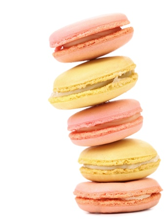 Stack of macaron cakes  Isolated on a white background  photo