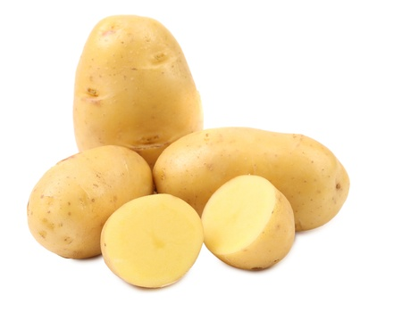 eat the plant: Potatoes and splited tuber. Isolated on a white background. Stock Photo
