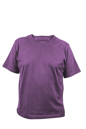 shirtsleeves: violet t-shirt isolated on a white background Stock Photo