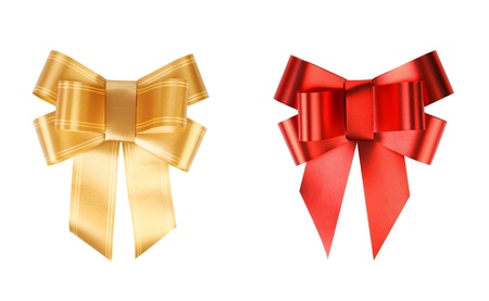 Gold and red bows  Isolated on a white background  photo