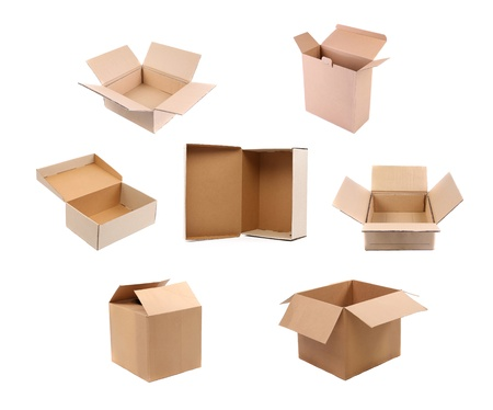 Opening variety carton boxes  Isolated on a white background  photo