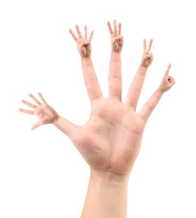 Five different configurations of fingers on five-fold. White background. photo