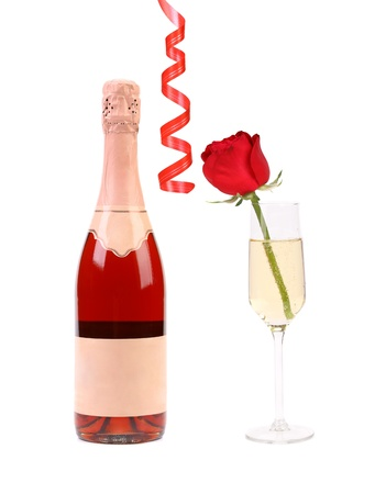 Red collage. Bootle of champagne and glass with rose. White background. photo