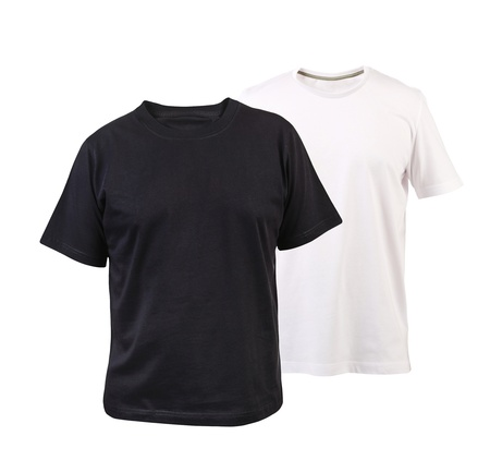 Black and white T-shirt. Isolated on a white background. photo