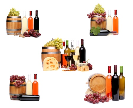 Collage of wine compositions. Isolated on a white background. photo