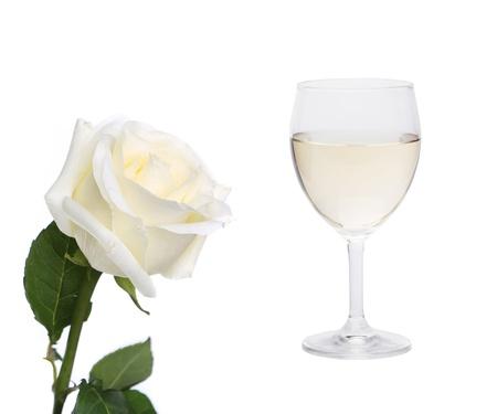 aligote: White collage. Rose and glass of wine. White background.