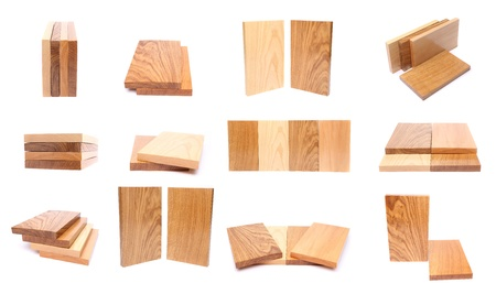 Collage of wooden planks. Isolated on a white background. photo