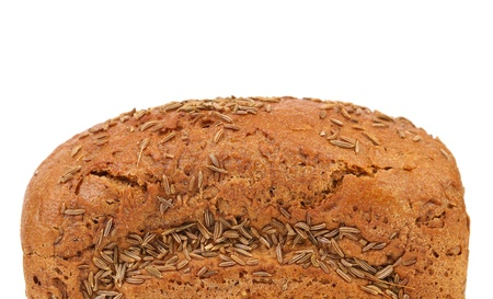 Top of rye bread with caraway seed. Close up. photo