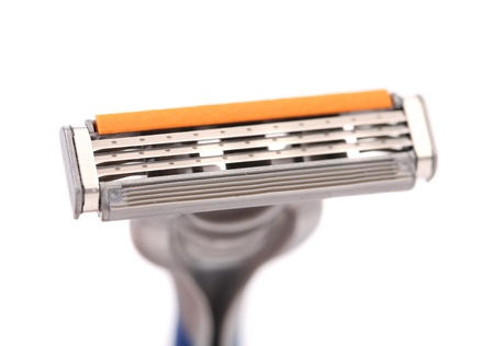 Effective area of shaving razor. White background.