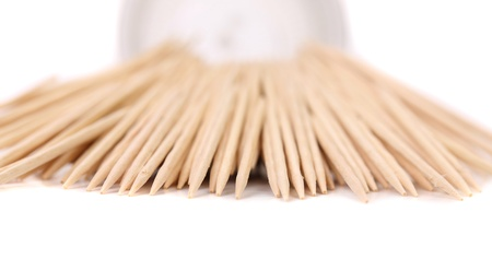 Toothpicks get out round box. White background. Stock Photo - 21742041