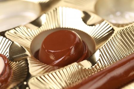 Box of chocolates. Close up. Whole background. photo