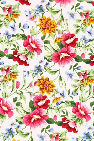 aloha: Print of different flowers. Close up. Background.
