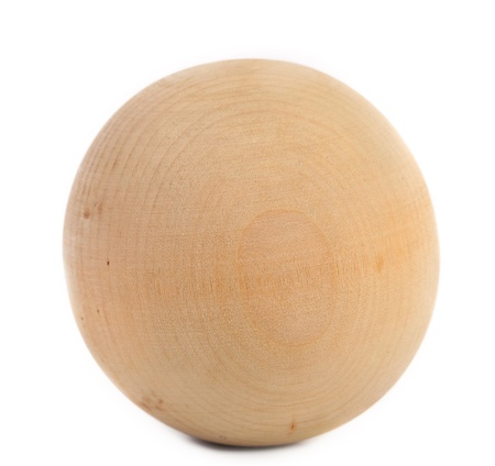 Wooden sphere isolated on a white background. Close up.