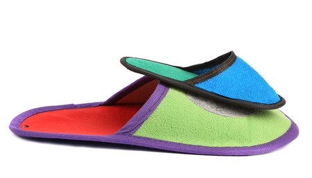 violet residential: House slippers. Isolated on a white background.
