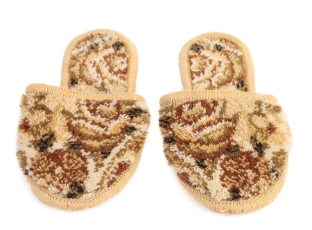 Fur house slippers isolated on a white background photo