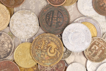 Background of old coins. Close up. Whole background. photo