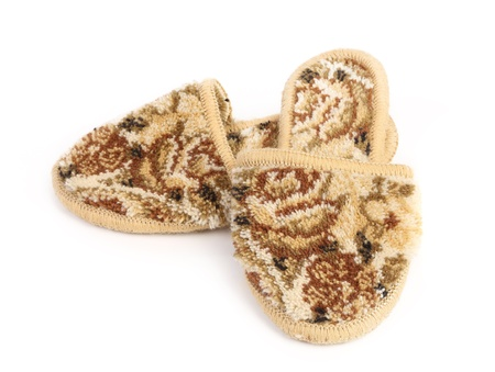Pair of slippers on a white background photo