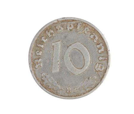 deutschemarks: Deutsches 10 coin isolated on white background. Front.