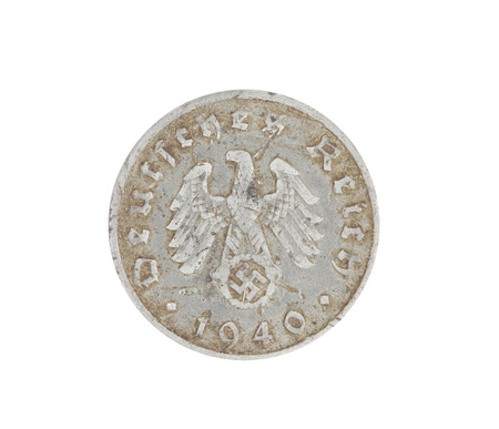 deutschemarks: Deutsches coin from 1940 isolated on white. Back.