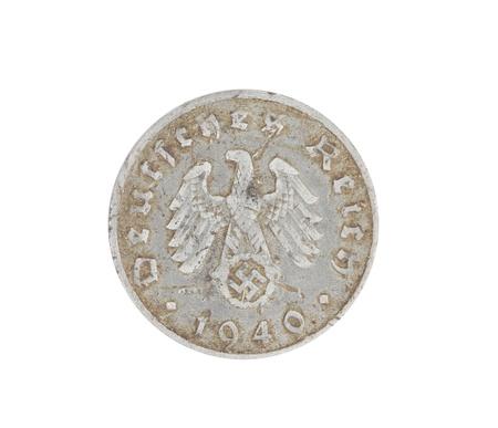 deutschemarks: Deutsches coin from 1940 isolated on white. Back.