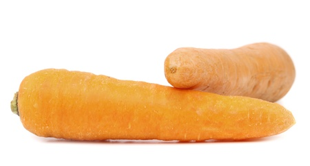 Carrot tubers isolated on a white background photo
