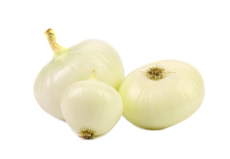 Peeled white onions. Isolated on a white background. Stock Photo