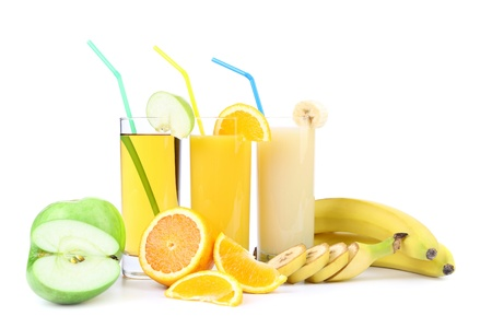 Orange apple and banana juice. White background. photo