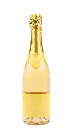goldish: Goldish bottle of champagne isolated on a white background.