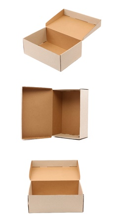 Collage of carton boxes  Isolated on a white background  photo
