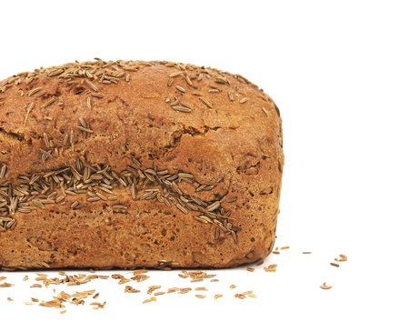 Half of rye bread with caraway seed  Isolated on a white background  photo