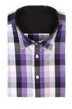 Casual men's shirt with a checked pattern. Isolated photo