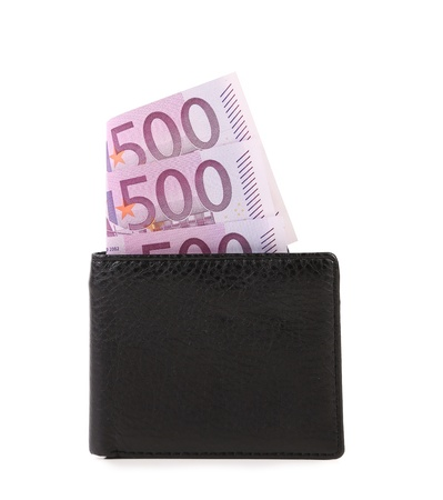 Black wallet with euros banknotes. Close up photo
