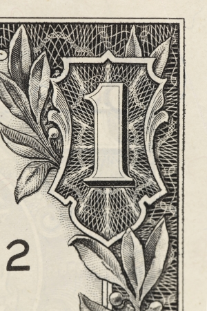 cashing: Digit One from dollar banknote close-up. Background Stock Photo