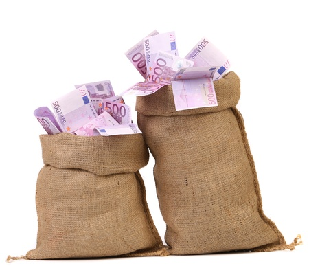 Two bags with many euro banknotes. Isolated on a white background. photo