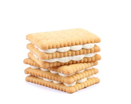 Cookies with white chocolate isolated on a white background