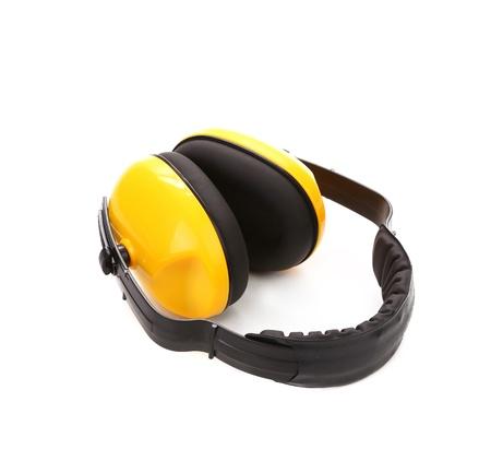 noise isolation: Headphones protection. Isolated on a white background. Stock Photo