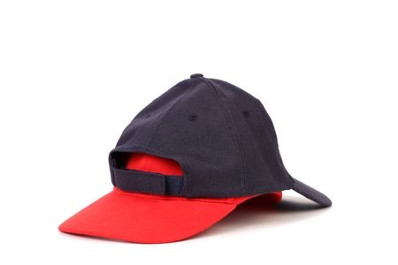 blak white: Black and red cap for baseball on a white background
