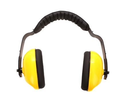 defenders: Yellow working protective headphones. Isolated on a white background.