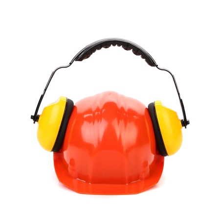 Working protective headphones on hard hat. Isolated on a white background. photo