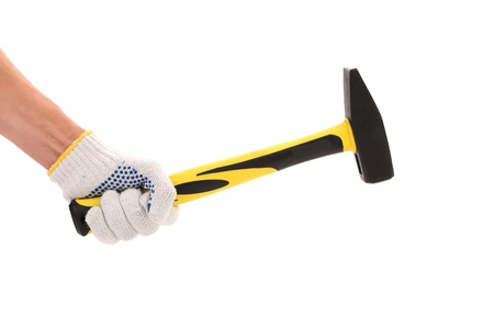 Hand with protection glove holding hammer isolated on white background photo