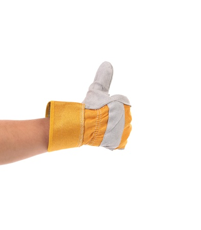 construction worker glove thumbs up isolated on white background photo